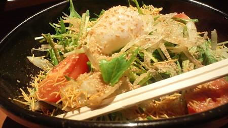 水菜と温泉玉子サラダ