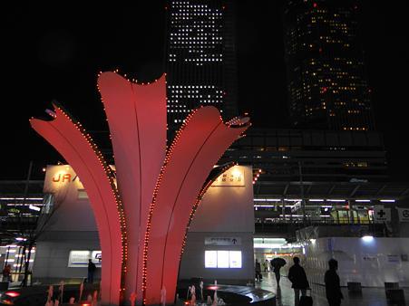 名古屋駅太閤口の噴水と夜景