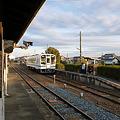 桜木駅に対向列車入線