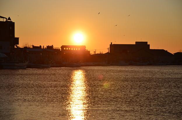 冬の釧路の夕日
