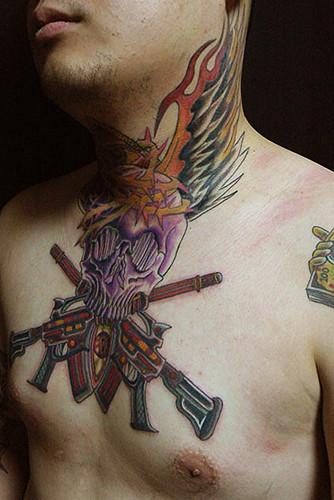 ドクロ 骸骨 羽 ピストル 銃 プロビデンスの目 胸/tattoo.タトゥー.刺青