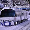 小樽駅にて雪に埋もれる回送特急ニセコスキーエクスプレス183系?